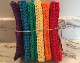 bathroom washcloth set, rustic decor,  handmade washcloth, eco friendly, enviro friendly, baby washcloths, rainbow color handmade washcloths