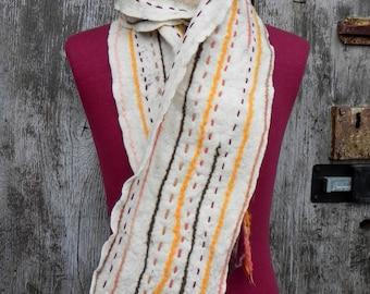 Organic white organic merino wool scarf,natural eco felted scarf, natural white felt scarf, organic wool