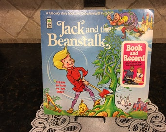 33 RPM LP Record Jack & The Beanstalk with Full Color Story Book Peter Pan BR 502