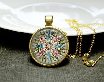 Paris Compass Necklace French Revolution Paris Compass Necklace Glass Jewelry French Jewelry Gold Compass Elegant Necklace Gold Paris Gift