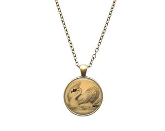 Animal jewelry Swan necklace Bird pendant