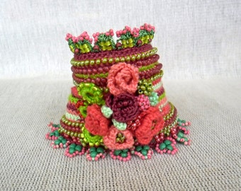 Crochet Cuff Bracelet with Crocheted Roses, Freeform Crochet Cuff Unique Gift For Her, Handmade Cuff Bracelet