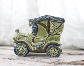 Kitschy Green Jalopy Planter, ceramic car planter, succulent planter, gift for him, husband gift, boyfriend gift, automobilia gift