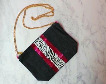Denim Cross body bag - pink and zebra