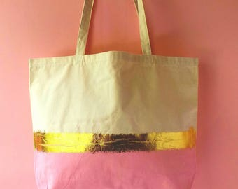 Beach bag baby pink - long straps