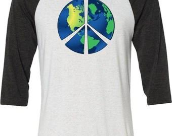 Men's Peace Shirt Blue Earth Raglan Shirt BLUEEARTH-3200