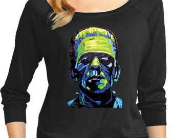 Ladies Frankenstein Face 3/4 Sleeve Scoop Neck 20719NBT2-DM482