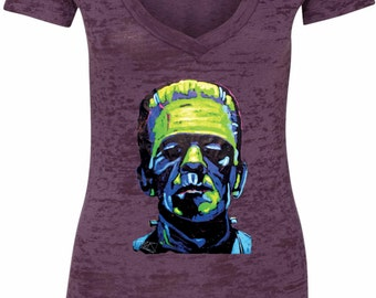 Ladies Frankenstein Face Burnout V-Neck Tee T-Shirt 20719NBT2-NL6540