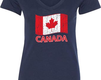 Ladies Distressed Canada Flag V-Neck Shirt CANADA-N1540