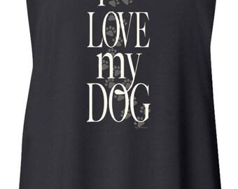 I Love My Dog Ladies Flowy Racerback Tank Top 21255E2-8800