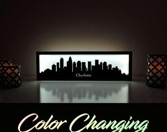 Charlotte Skyline, Charlotte Art, Charlotte Skyline Art, City Skyline, Light Up Sign, City Skyline Art, Skyline Wall Art, Charlotte NC