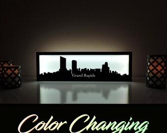 Grand Rapids Skyline, Grand Rapids Art, Grand Rapids Skyline Art, City Skyline, Light Up Sign, City Skyline Art, Skyline Wall Art