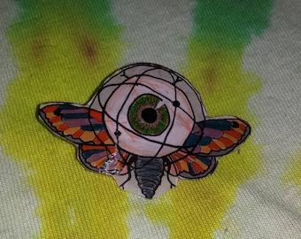 Flying Eye Moth Shrinky Dink Pin