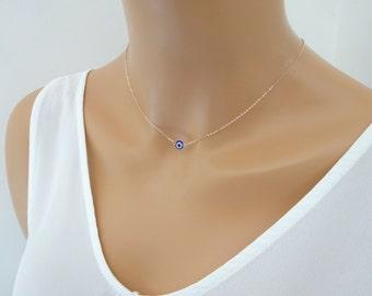 Rose gold fill Evil eye necklace, Dainty layering necklace, tiny blue evil eye necklace in Rose gold fill