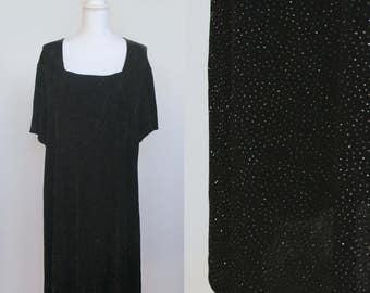 Vintage Ultra Dress 1990s Black Square Neck Dress - Sparkle - Glitter - Plus Size - All Over Shine - Party Dress - Women's Small Medium 24W
