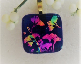 Dichroic Glass Pendant, Ginkgo Design, Fused Glass Jewelry, Dichroic Glass Necklace, Dichroic Pendant, BlueGlass,Dichroic Leaves, DP12031684