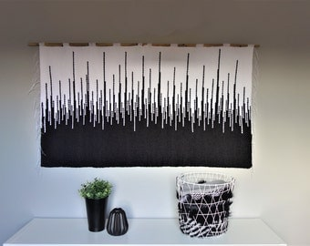 woven wall hanging, wall tapestry, housewarming gift, macrame wall hanging, woven wall decor, fiber art, white black tapestry, modern art
