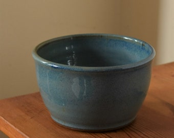 Gloss Blue Pottery Bowl by Fire Garden Pottery. High fire stoneware pottery. Holds 16oz to 18oz.