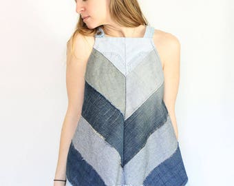 Refashioned denim tank women's upcycled summer swing top chevron color blocked tank sustainable fashion navy top eco conscious Honey Darlin