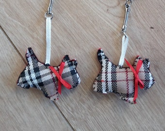 Tartan Scotty Dog Keyring Bag Charm, Tartan Scotty Dog Keychain, Tartan Scotty Dog Keyfob, Tartan Scotty Dog Key Holder Bag Charm