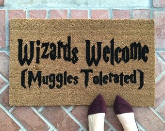 Harry Potter welcome mat / Handpainted, funny doormat/ Wizard Muggle Gift / Housewarming Gifts / Outdoor Welcome Mat / Gift For Her