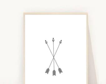 Arrow Print, Black Arrows, Arrow Wall Art, Modern Wall Art, Printable Art, Black and White Arrow Print, Downloadable Art