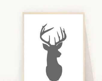 Stag Head Print, Deer Wall Art, Printable art, Grey Deer head, Modern Wall Art, instant Download, Grey Stag print
