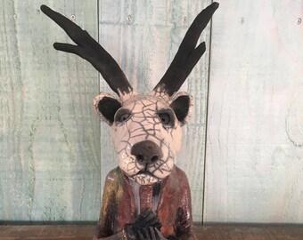 céramic raku Mister Deer