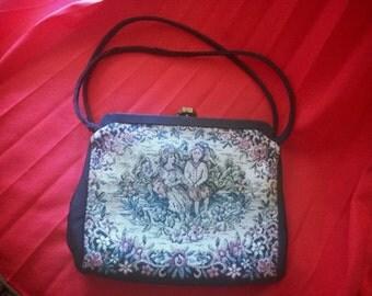 Vintage handbag, tapestry purse Chestnut 1980's