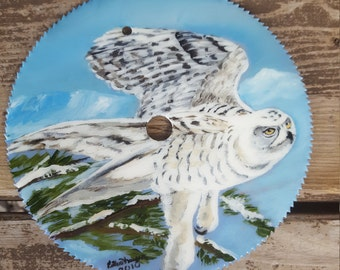 7in Hand painted saw blade features an owl