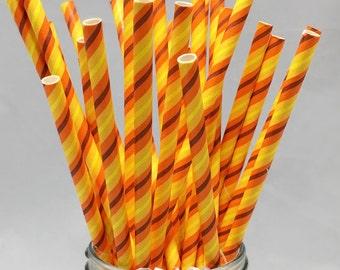 Orange Straws - Orange Striped Straw - Party Straws - Paper Straws - Paper Drinking Straw - Dark Orange Straw - Halloween Party - Pumpkin