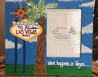 Las Vegas Souvenir Frame | Travel Frame | Viva Las Vegas | What Happens In Vegas | Bachelorette Party Picture Frame | Signature Picture