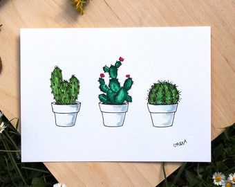 Original watercolor CACTUS or printing, watercolor painting CACTUS size A5, watercolor 3 Cactus, green, watercolor cactus flower plant pot