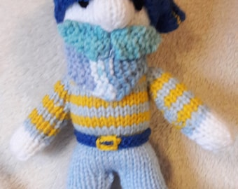 Captain Blue Beard knitted toy, children, kids, playroom, make believe, pirate