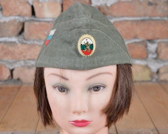 Military cap - Tank man's hat - Bulgarian communist army hat - Military soldier cap - Uniform cloth hat - Distressed military hat - Old hat