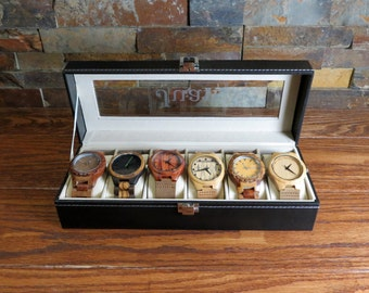 Personalized 6 Watch Box - Gifts for Men, Husband Gift, Fathers Day, Gifts for Dad, Groomsmen Gift