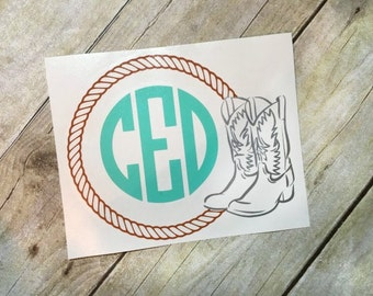 Cowboy Boot and Rope Monogram Decal-Cowgirl Boot Monogram Decal-Country Decal-Western Decal-Car Decal-Notebook Decal