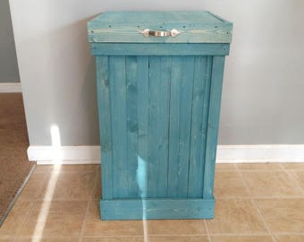 Attractive Rustic Blue Wood Trash Can  French Country Trash Can  Wood Trash Bin   Recycling