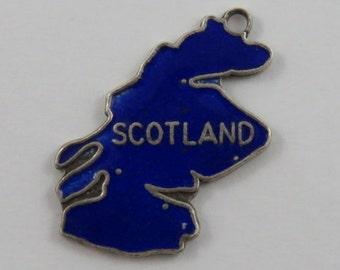 Enamel Map of Scotland Sterling Silver Vintage Charm For Bracelet