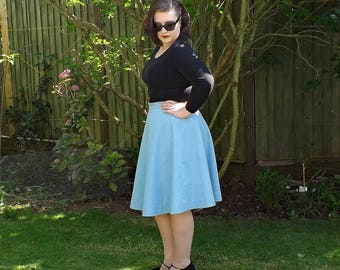 50s Style Skirt, Cotton Circle Skirt, Full Skirt, Cotton Skirt, Circle Skirt, 50s Skirt, Cotton, Knee Length Skirt, Blue Full Circle Skirt