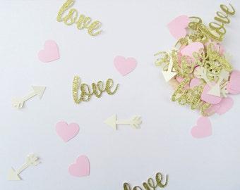 Love Confetti, Valentines Day Confetti, Valentines Day Party Decor, Blush and Cream Confetti, Gold Love Confetti, Pink Party, Heart Confetti