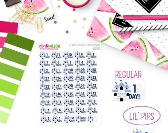 Lil Pips CASTLE Countdown |45 Kiss-Cut Stickers | Itty Bitty, Vacation, Mouse, Magic, Kingdom,  | LP262