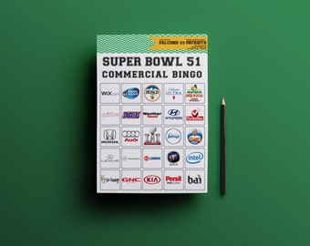 2017 Super Bowl 51 Commercial BINGO Printable Extended Set // Super Bowl LI Party Game // 30 Commercial Bingo Cards