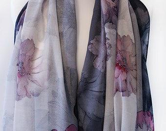 Special Offer Black, Grey and Pink Floral Peony Scarf Second