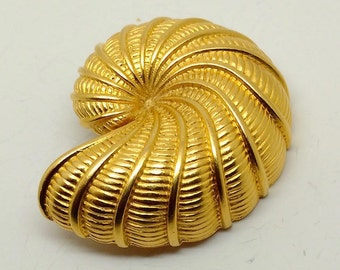 Vintage Gold Tone Nautilus Shell Brooch