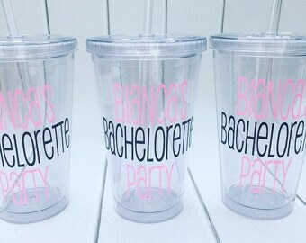 Personalized Bachelorette Tumblers, Bachelorette Party Tumbler Set, Party Favors, Ladies Trip Gifts, Bachelorette Weekend, Custom, 16 oz.