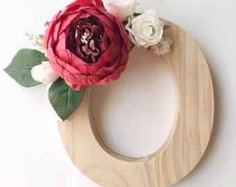 Red floral wooden letter, floral name letter, flower initial, wooden flower letter, floral nursery letters, flower letter, nursery letter