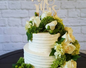 Mr and Mrs - Wedding Cake Topper - UNPAINTED Wooden Cake Topper