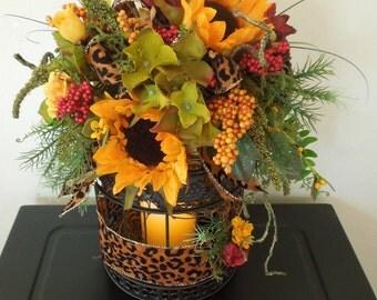 "Beautiful 17"" Sunflower Leopard Print Floral Summer Birdcage Arrangement"