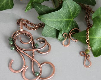 Copper Pendant and Green Moss Agate Beads, Copper Necklace, Copper Wire Pendant, Wire Wrapped Pendant, Hammered Pendant, Copper Jewelry